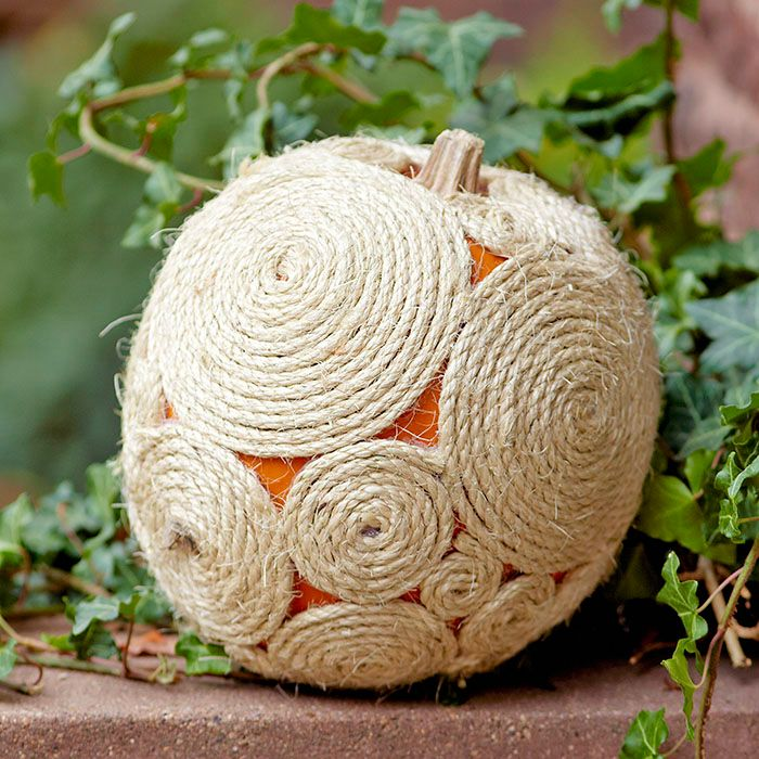 pumpkin decorated with rope coils