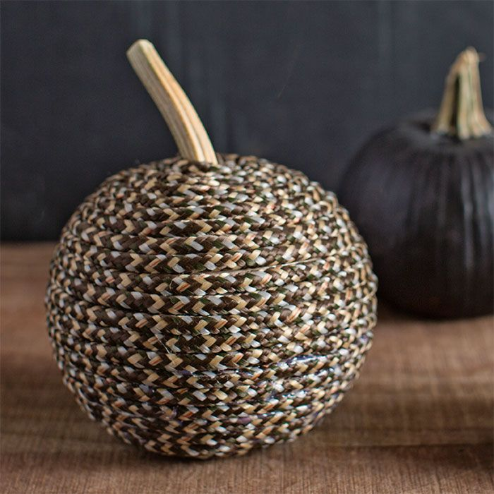 Pumpkin wrapped in braided polypropylene rope.