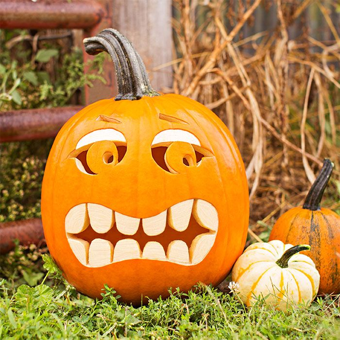 A pumpkin on the ground carved with a mouth full of rounded teeth and a frightened expression.