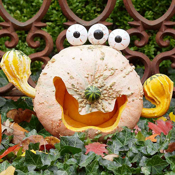 A grinning pumpkin with three round gourds painted as eyes, a gourd nose and gourd arms and hands.