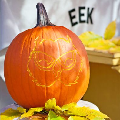 A pumpkin etched with an owl head design resting on a white stool with autumn leaves.